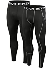 Boyzn Men's 2 Pack Sports Compression Pants Quick Dry Active Base Layer Tights Workout Running Leggings with Pockets