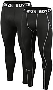 Boyzn Men's 2 Pack Sports Compression Pants Quick Dry Active Base Layer Tights Workout Running Leggings wi