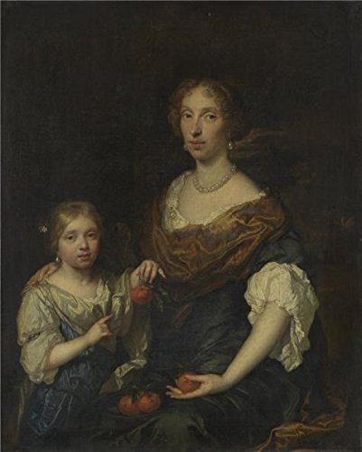 Child Delta Force Army Costumes - Oil Painting 'Caspar Netscher - Portrait Of A Lady And A Girl,1679' Printing On High Quality Polyster Canvas , 20x25 Inch / 51x63 Cm ,the Best Hallway Gallery Art And Home Decor And Gifts Is This Amazing Art Decorative Canvas Prints