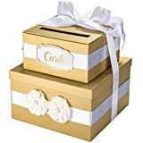 Wedding Card Box - 2 Tier Gold - Perfect for Weddings, Bridal Showers, Baby Showers, Birthdays, Graduations - Large Gift Card Box with Satin Ribbon, 2 Flowers, and Gold Foil Cards Label