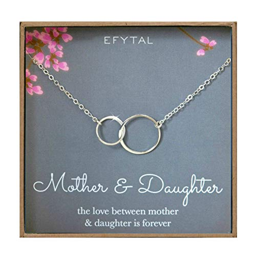 EFYTAL Mother Daughter Necklace - Sterling Silver Two Interlocking Infinity Double Circles, Mothers Day Jewelry Birthday Gift - Double Pendant Necklace Circle