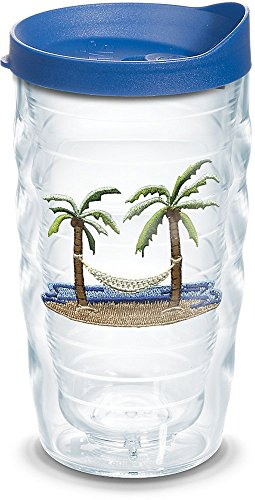 Tervis 1092338 Palm Tree & Hammock Scene Insulated Tumbler with Emblem and Blue Lid, 10oz Wavy, Clear