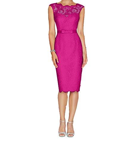 Knielang Abendkleider Elegant Charmant Neu Partykleider Etuikleider Pink Spitze Damen Brautmutterkleider 5wtwC7AYq