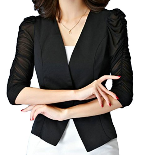 YYear Womens Solid Color Slim Puff Sleeve Business One Button Blazer Suit Jackets Black ()