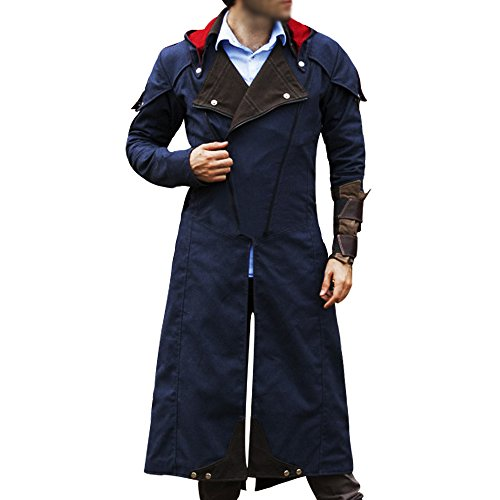 Assassin's Creed Unity Arno Dorian Denim Cloak Costume jacket Blue (XXX-Large)]()