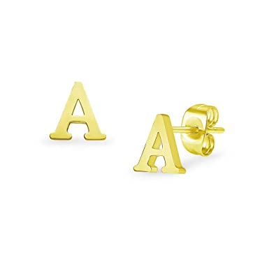 3c88cb598 Alphabet Initial Letter Tiny Earring Studs Stainless Steel Gold Tone  Letters A