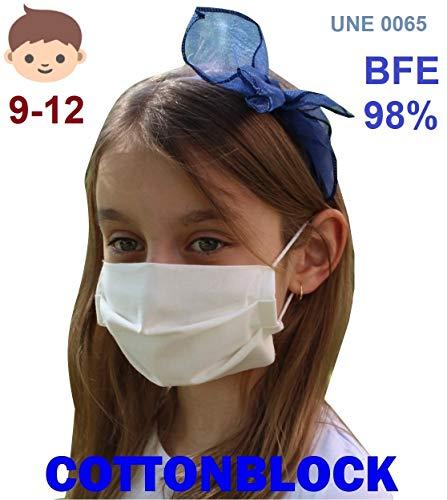 ✅ Mascarilla higiénica reutilizable de alta protección homologada UNE 0065:2020 (Norma Ministerio Sanidad España) mediante ensayo EN14683:2019 ⭐ Tela 100% algodón tratado con tecnología Cottonblock (propiedades hidrófugas y de bloqueo): repele las microgotas de saliva dentro y fuera; facilita la respiración. ⭐ Test de laboratorio de protección BFE 98,2% ⭐ Protección bidireccional, proteje al que la lleva y a los demás (no excluye de cumplir las normas de distanciamiento social). ✅ Cuida la piel de tu cara con nuestra tela 100% algodón sin elementos tóxicos ni fibras artificiales que provoquen rojeces, alergias, eccemas o irritaciones, incluso llevándola todo el día. ⭐ 100% libre de fluorcarbono, ftalatos y teflones. ⭐ Certificado OekoTex 100 Class 1 (sin sustancias nocivas). ⭐ Alta transpiración, ideal para el verano, ejercicio ligero y/o personas que hablan a menudo con mascarilla. ⭐ Sin elementos rígidos para no dejar marcas en nariz o cara y tener máxima comodidad. ✅ Fabricada en España (tejido y confección) y testada en el laboratorio español Eurecat (ensayo 2020-017772) ⭐ Sin tener que añadir filtros desechables, sólo hay que lavarla para reutilizarla. ⭐ Muy ligera y cómoda, con gomas especiales para que no duelan las orejas y diseñada de forma ergonómica en acordeón para poder hablar con la mascarilla puesta sin que se descoloque. ⭐ Muy cómoda para respirar gracias a una presión diferencial de sólo 15Pa/cm2 (respirabilidad probada en laboratorio).
