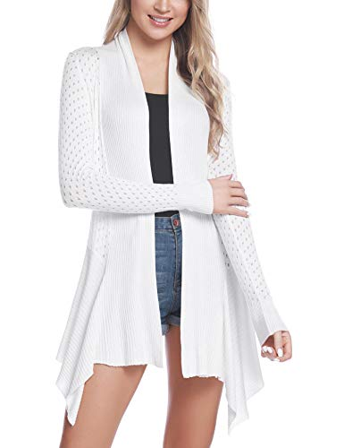 iClosam Womens Casual Long Sleeve Asymmetric Draped Open Front Cardigan Sweater White