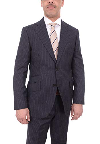 Mens Napoli Slim Fit Navy Flannel Chalk Stripe Half Canvassed Marzotto Wool -