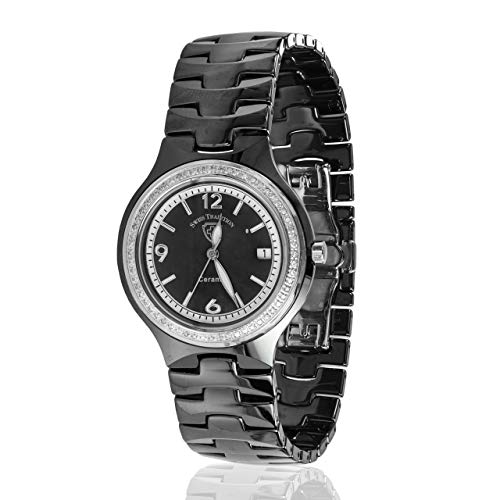 Traditions Ceramic - Swiss Tradition Woman's Ceramic Black Band Mother of Pearl Dial Crystal Watch