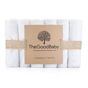 100% Organic Turkish Cotton Baby Washcloths by The Good Baby - 6 Pack by The Good Baby