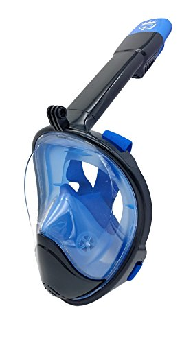 New 3rd Gen Full Face Snorkel Mask - Longer Breathing Tube, Flat Anti Fog Lens - Adult and Kids Size - GoPro Compatible, Easy to Breathe Underwater - Best Panoramic Snorkeling Masks (Black/Blue, L/XL)