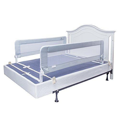Toddler Bed Rail Guard for Convertible Crib, Kids Twin, Double, Full Size Queen & King (White-Regular)