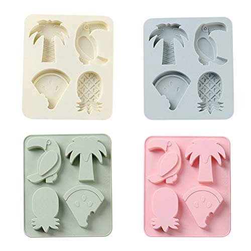 (BESTONZON Candy Molds Silicone Chocolate Molds - 4pcs Silicone Ice Molds Including Coconut Tree, Pineapple Watermelon for Making Candy, Chocolate, Fruit Snack and Baking Cake Decor(Random)
