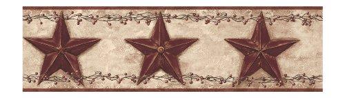 [York Wallcoverings Best Of Country PC3918BD Barn Star Berry Border, Khaki/Burgundy] (Barn Star Wallpaper)
