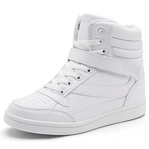 UBFEN Women's Shoes Hidden Wedges 5.5cm Fashion Sneakers Ankle Boots Bootie Platform Heel High Top Casual Sports White 8 B(M) US ()
