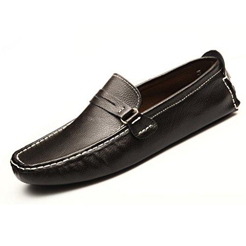 Tda Heren Streep Lederen Mocassin Loafers Rijden Schoenen Comfort Instappers Loafers Flats Zwart