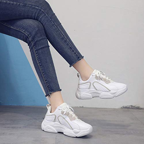 Chaussures Running Fond Plein Plates Mode Respirantes chaussure Femme Air Confortable Rbnb Lacets Blanc Sneakers Boots De Fille Épais Chaussure Sport Fitness xZOan