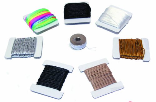 Ci 8-Piece 184 g Thread Assorted Cord Value Pack Cotains 9 m of Gold and Silver Elastic Cord 4.5 m Each of Black/ White and Neon Satin 1.8 m Each of Black and Tan Leatherett, Assorted Colours