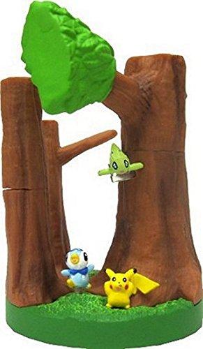 Pokemon Diamond & Pearl Mini Gashapon Display 1/40 Scale Figure Version 2 - Celebi Pikachu Piplup Forest Figure Set