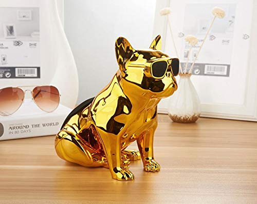 RONSHIN Bluetooth Speakers,Cartoon Bulldog Wireless Bluetooth Speaker Mini Portable Speaker 10W Power Bank Support TF USB AUX with Mic Gold by RONSHIN