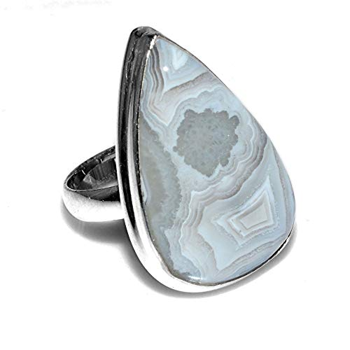 (Silver Palace Sterling Silver Handmade Crazy Lace Agate Ring for Womens and Girls)