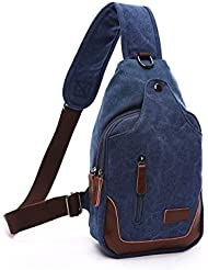 Lalagen Retro Canvas Daypack Durable Crossbody Backpack Sling Bag for Men