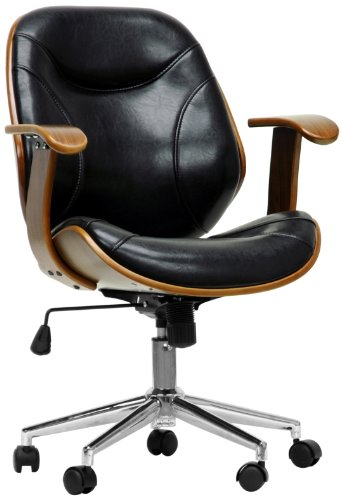 rn Modern Office Chair, Walnut/Black ()