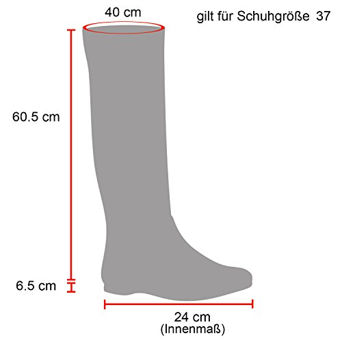 Stiefelparadies Damen Overknees Stiefel Veloursleder-Optik Schuhe Langschaftstiefel Schleifen Blockabsatz Boots Flandell Dunkelrot Velours Camiri