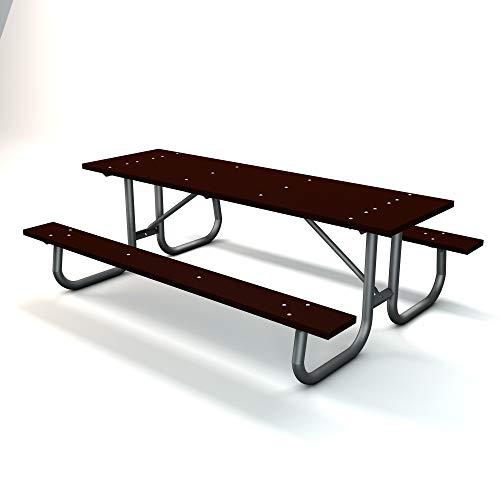 Frog Furnishings Galvanized Frame Picnic Table, 8', Brown