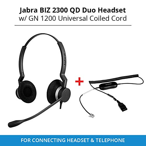 ~ Jabra Biz 2300 QD Duo Headset W Supervisor Cord w Mute 2309-820-105