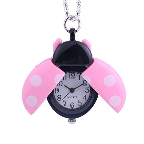 -  Orcbee  _Creative Small Seven-Star Ladybug Pocket Watch Gift for Kids (Pink)