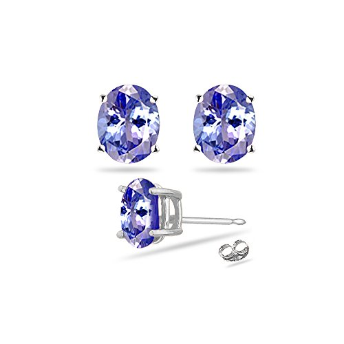 0.41-0.65 Cts of 5x3 mm AA Oval Tanzanite Stud Earrings in ()