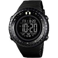 alignmentpai Men's Outdoor Wrist Watch Multifunctional Digital Timing Alarm Luminous Sports Watches Black