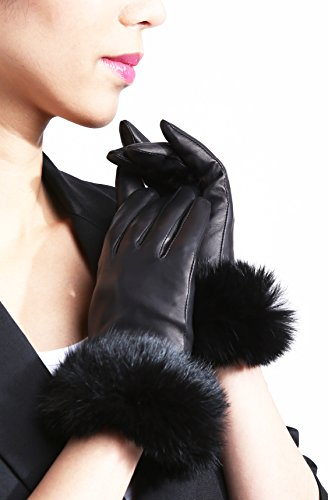 womens-fur-trimmed-lambskin-leather-gloves-large-black