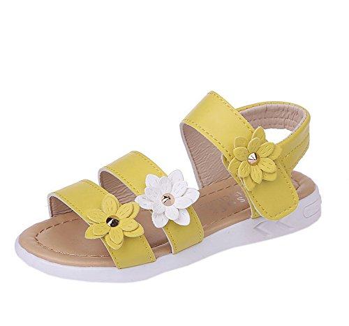 Vokamara Big Girls Fashion Strap Sandals Summer Shoes X-Yellow 28
