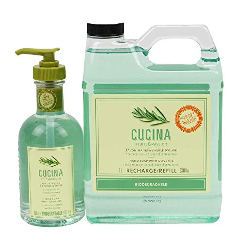 Cucina Olive Oil Hand Soap Liquid 200 Milliliter and 1 Liter Refill Set pump (Rosemary and Cardamom)