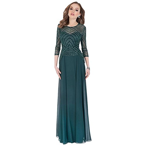 Beaded Bodice Georgette Sheath Mother of Bride/Groom Gown with Peplum Style.
