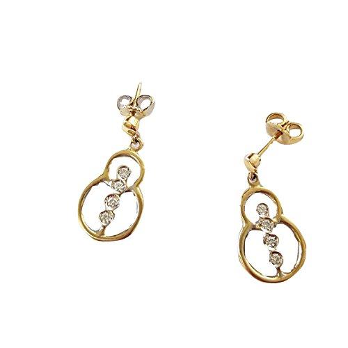 Boucles d'oreilles pendantes Or 75018carats avec diamants naturels 0,18H- VVS-AFFAIRE