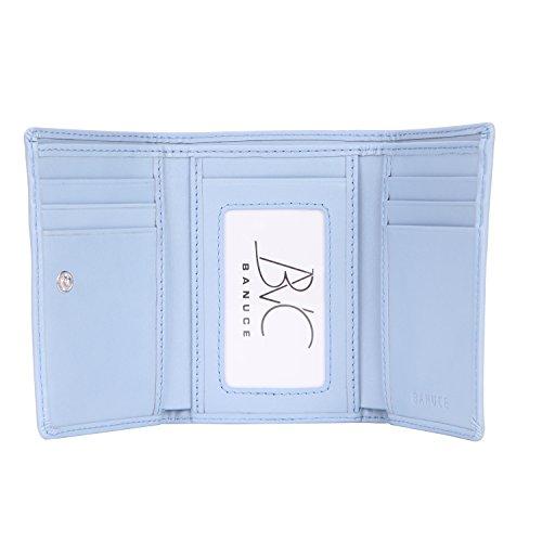 Banuce Top Grains Genuine Leather Trifold Wallet for Women Clutch Purse Money Organizer Cards Holder Color Light Blue