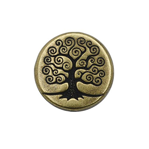 TierraCast Bead, Puffed Coin with Tree of Life Design 4x13.5mm, 2 Pieces, Brass Oxide Finish (Coin Beads Puffed)