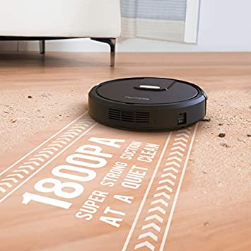 Robot Vacuum, 1800PA Robotic Vacuum Cleaner with Self-Charging, Wi-Fi Enabled, Smart Robot Cleaner Works with Alexa Remote App Control, Best for Pet Hairs, Hard Floor Medium Carpet