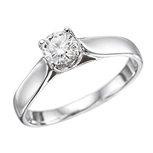 GIA Certified 14k white-gold Round Cut Diamond Engagement Ring (0.31 cttw, G Color, SI2 Clarity)