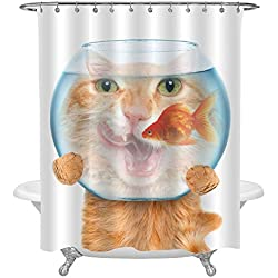 """MitoVilla Adorable Cat with a Goldfish Aquarium Shower Curtain Set with Hooks, No Liner Needed, Funny Cat Bathroom Accessories for Kids Home Decor, 72"""" W x 84"""" L"""