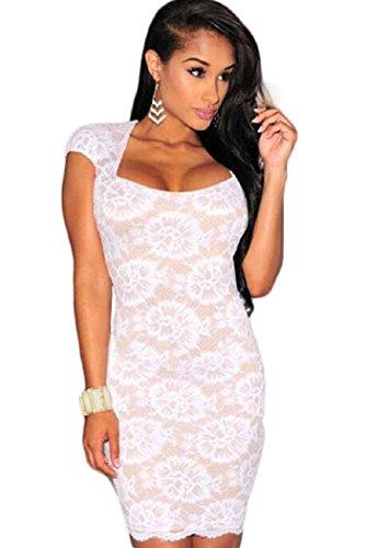 Señoras blanco y Nude Lace Cap Sleeve vestido Club Wear fiesta noche desgaste tamaño UK 8–�?0EU 36–�?8