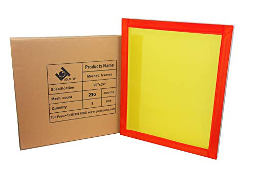 20 x 24 Inch Pre-Stretched Aluminum Silk Screen Printing Frames with 230 Yellow Mesh (2 Pack -