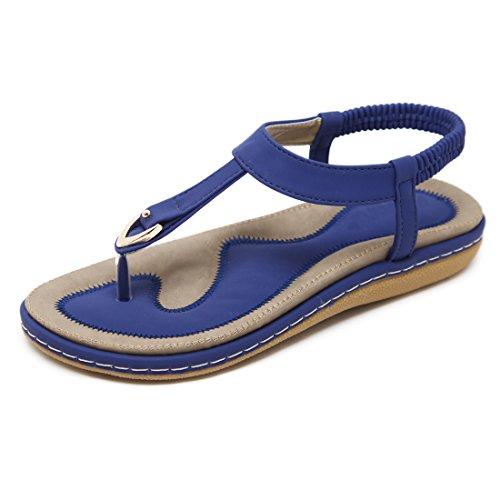 de Chaussures des D'été pour de Sandales Plates Ruiren Bascules Femmes Bleu Dames ZTwIWq