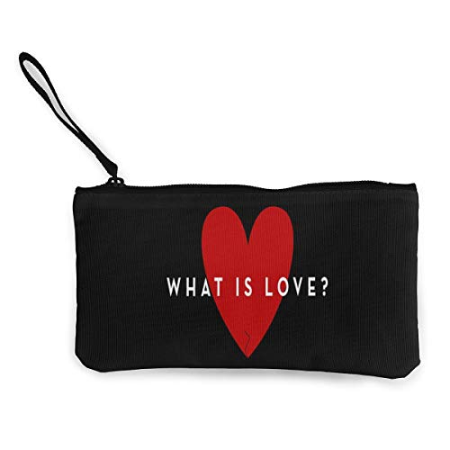 Coin Purse What Is Love Black Zip Canvas Small Purse ChangeFabulous Bag
