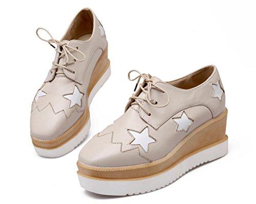 HiTime Chaussures à Lacets Femme - Beige - Beige, 36.5
