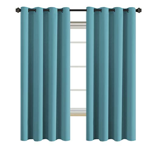 H.VERSAILTEX Insulated Thermal Blackout 52 x 72 Inch Long Curtain Panels Pair - Nickel Grommet Window Drapes for Bedroom/Living Room (Solid Aqua,Set of 2) ()